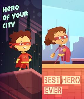 Dos banderas verticales urbanas con niños felices vestidos con trajes de superhéroes