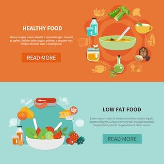 Dos banners de alimentación saludable con título de alimentos grasos de ley y leer más botones ilustración vectorial
