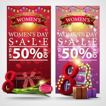 Dos banners de descuento para el día de la mujer con guirnalda.