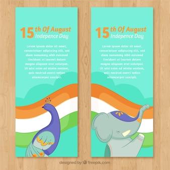 Dos banners del día de la independencia de la india