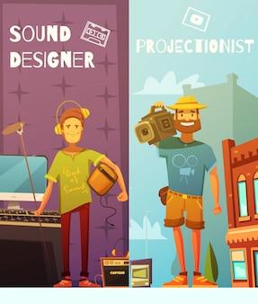 Dos banners de dibujos animados verticales