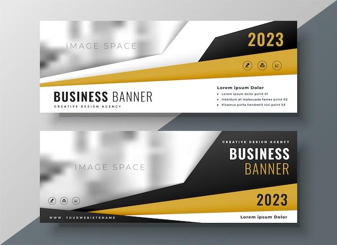 Dos banners web de negocios horizontales con espacio para texto e imagen