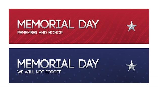 Dos banners web patrióticos para memorial day