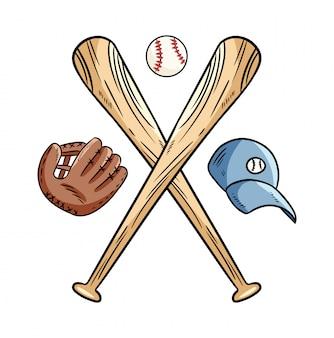Dos bates de béisbol cruzados y pelota, logo deportivo de icono
