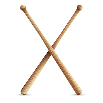 Dos bates de béisbol de madera cruzados.