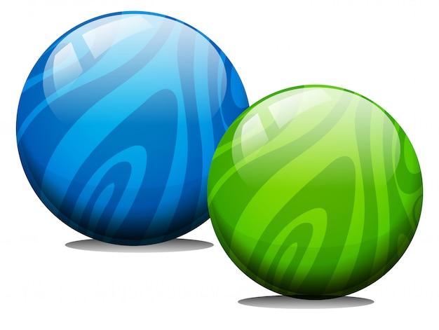 Dos bolas con textura de mármol.