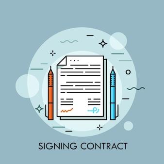 Dos bolígrafos de diferente color y documento en papel entre ellos. firma de contrato, conclusión de un acuerdo comercial, concepto de negociación.