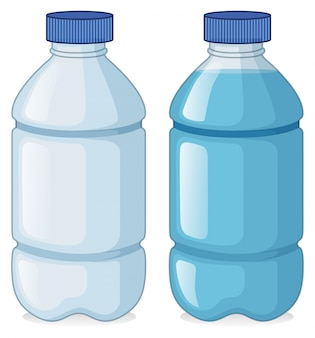 Dos botellas con y sin agua