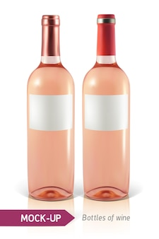 Dos botellas realistas de vino rosado sobre un fondo blanco con reflejo y sombra.