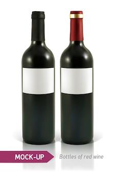 Dos botellas realistas de vino tinto sobre un fondo blanco con reflejo y sombra
