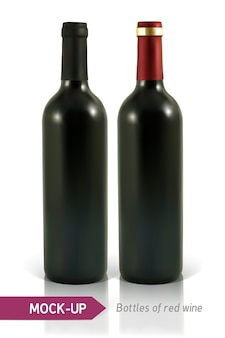 Dos botellas realistas de vino tinto sobre un fondo blanco con reflejo y sombra.