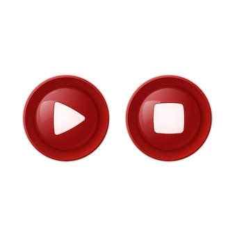 Dos botones rojos brillantes