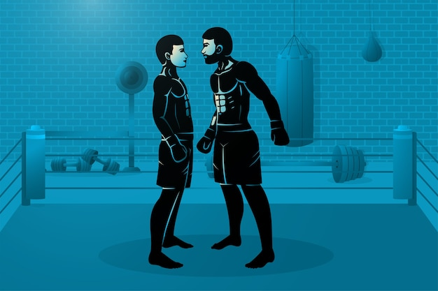 Dos boxeadores están parados en el ring