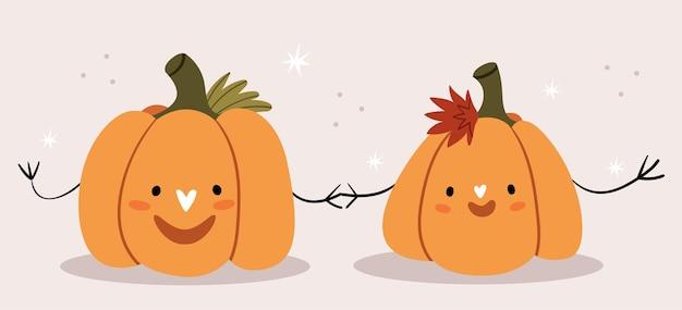 Dos calabazas enamoradas se dan la mano. imagen linda para halloween.