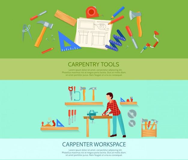 Dos carpintería trabaja pancartas planas conjunto con herramientas de carpintería ilustración vectorial