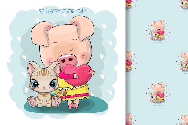 Dos cerdos de dibujos animados lindo sobre un fondo azul