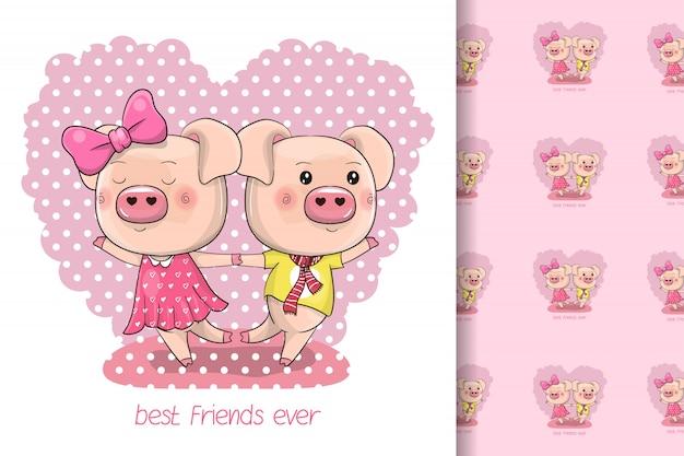 Dos cerdos lindos de dibujos animados sobre un fondo de corazón para niños