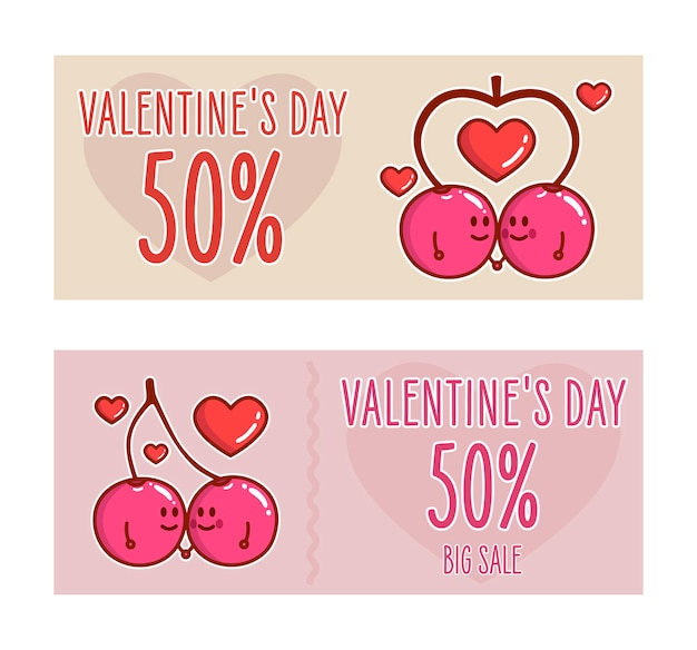 Dos cerezas enamoradas. pancartas del día de san valentín.