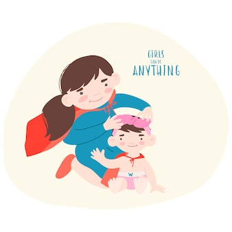 Dos chicas con capas de superhéroe