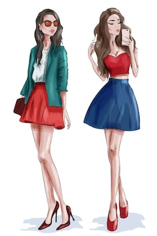Dos chicas guapas con estilo con accesorios