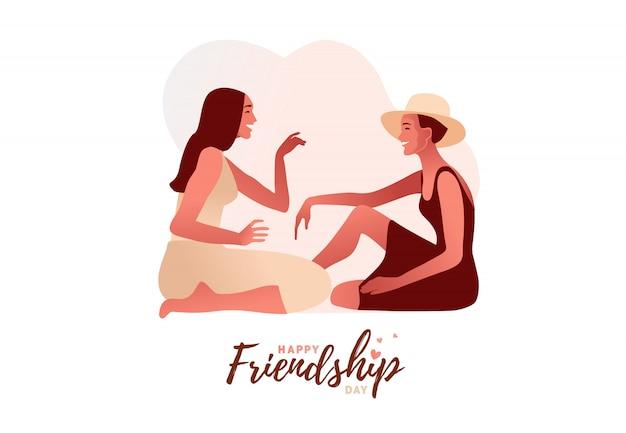 Dos chicas modelo con estilo cotilleando ilustración. una chica emocionada susurra secretos privados o rumores a su amiga. pastel de colores pálidos.