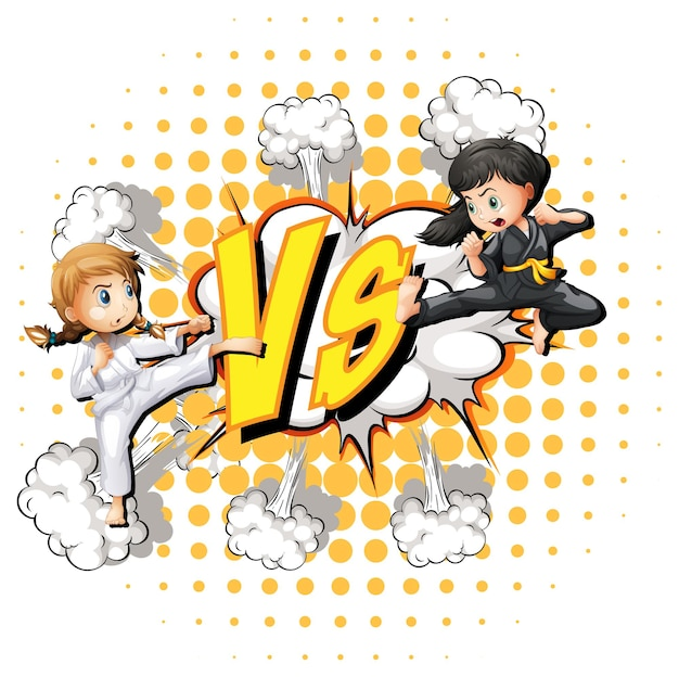 Dos chicas peleando sobre un fondo blanco.