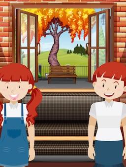 Dos chicas en la sala de estar