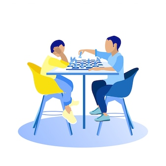Dos chicos jugando al ajedrez sobre fondo blanco.