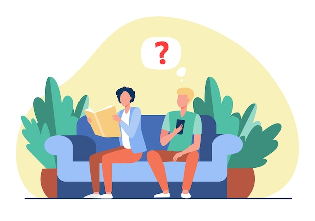 Dos chicos sentados en el sofá con libro y smartphone. lectura, dispositivo, sofá ilustración vectorial plana. tecnología retro y digital