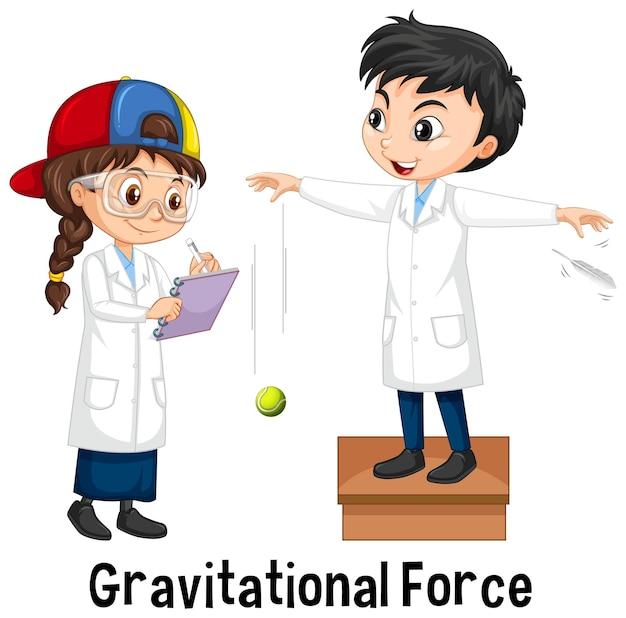 Dos científicos haciendo fuerza gravitacional.