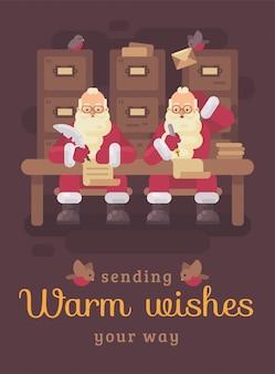 Dos cláusulas de santa escribiendo cartas a los niños. tarjeta de felicitación divertida del ejemplo plano de la navidad