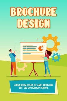 Dos colegas analizando trabajan juntos. gráfico, presentación, engranaje plano ilustración vectorial