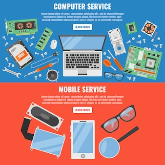 Dos colores y horizontal de la computadora y el banner del servicio móvil con descripciones del servicio móvil del servicio informático y botones blancos ilustración vectorial