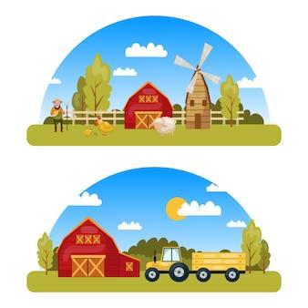 Dos coloridos panoramas de granja con vista al campo y elementos de estilo de dibujos animados, como el almacén de tractores