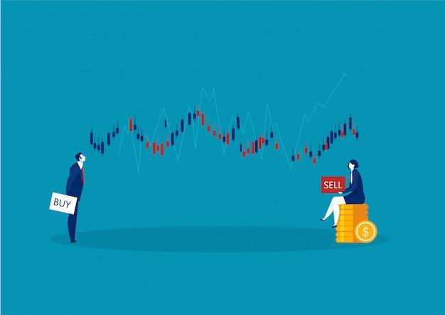 Dos comerciantes comerciales y gráficos de velas comerciales con botones de compra y venta sobre fondo azul.