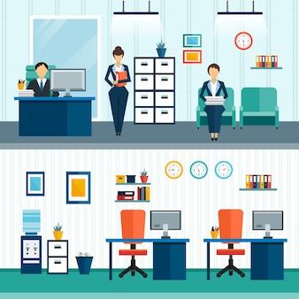 Dos composiciones interiores de oficina con mobiliario interior en la oficina y disposición de muebles.