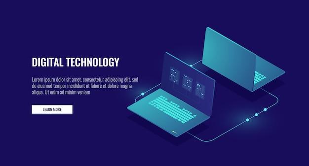 Dos computadoras portátiles que intercambian datos, cifrado de datos, conexión protegida
