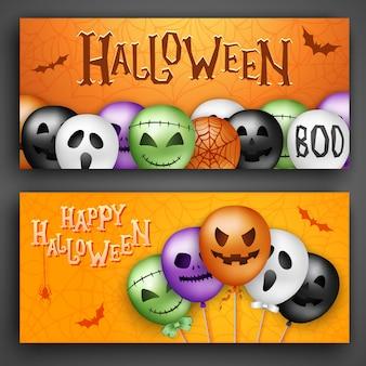 Dos conceptos de halloween con globos 3d
