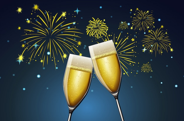 Dos copas de champagne y fuegos artificiales