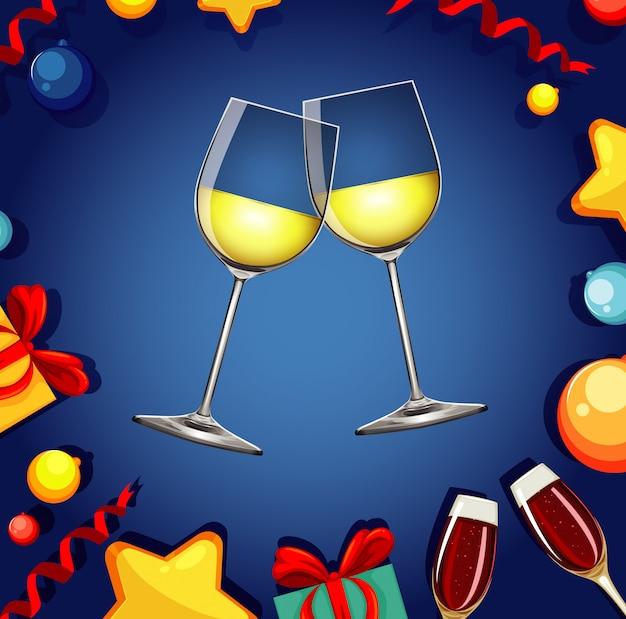 Con dos copas de champagne y fuegos artificiales