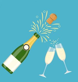 Dos copas de champaña con botella de champaña