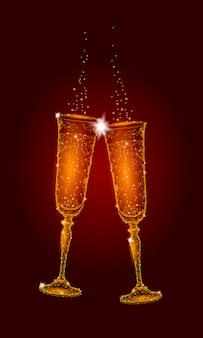 Dos copas doradas brillantes champán destellos, feliz año nuevo saludo del día de san valentín
