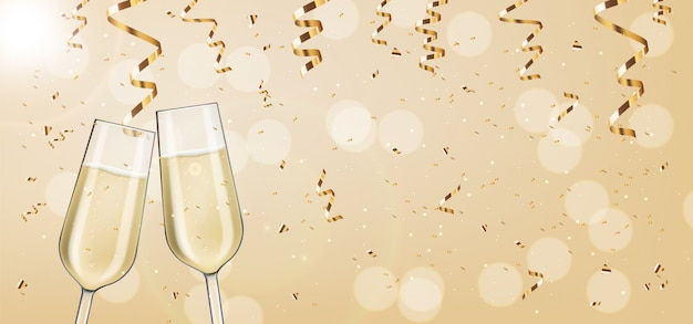 Dos copas realistas, champán rosado, conffeti de oro, fiesta, tarjeta de aniversario, feliz cumpleaños, fondo de celebración