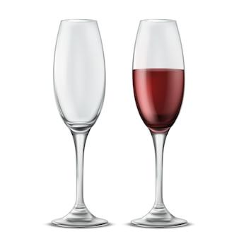 Dos copas de vino, vacías y llenas de vino tinto, ilustración realista 3d