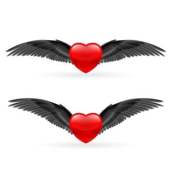 Dos corazones con alas