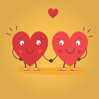 Dos corazones felices enamorados