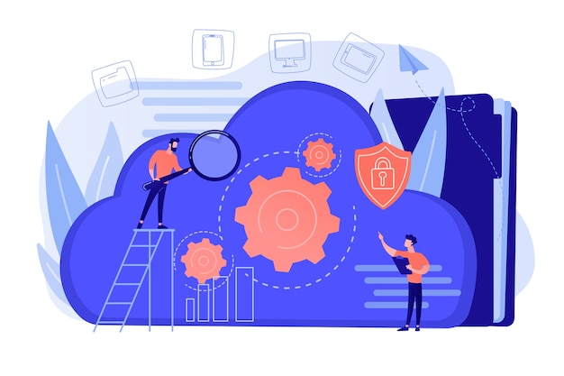 Dos desarrolladores mirando los engranajes de la nube. almacenamiento de datos digitales, seguridad de la base de datos, protección de datos, concepto de tecnología en la nube. ilustración vectorial aislado