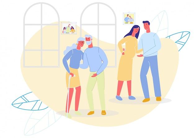 Dos dibujos animados de metáfora de generación familiar feliz