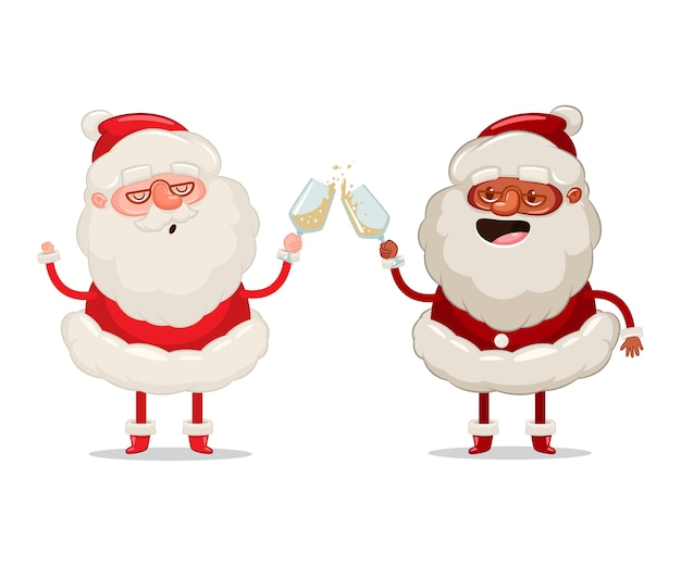 Dos divertidos papá noel con copas de champán celebran el personaje de dibujos animados de navidad sobre fondo blanco.