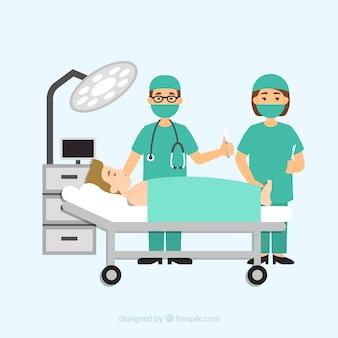 Dos doctores y paciente